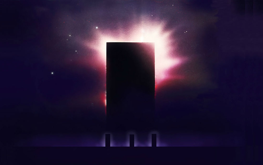 The three portals to the worlds of the Hidden Sun by the artist John Harris.